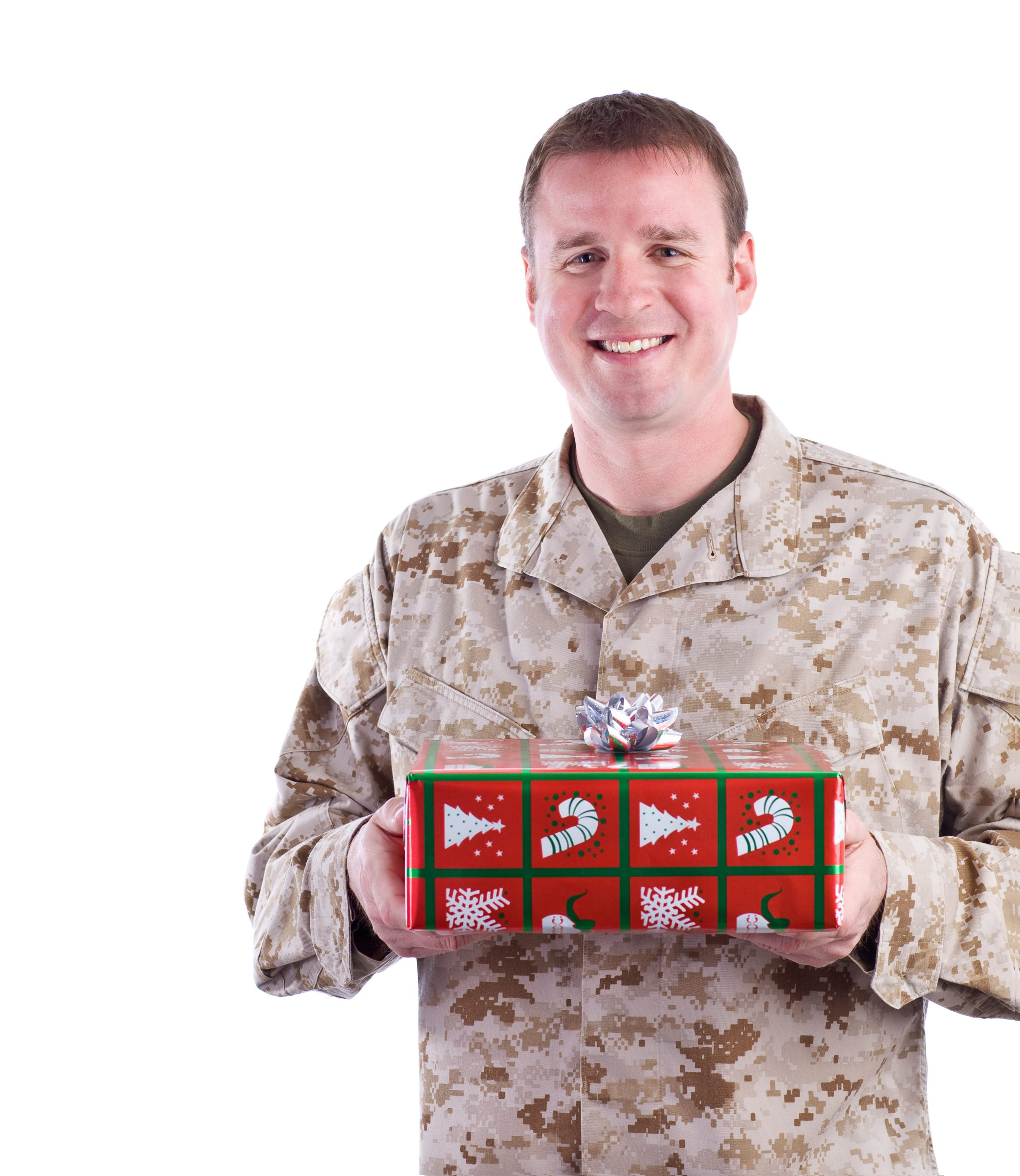 Marine Holds a Christmas Gift
