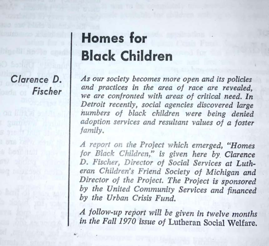 newspaper article with headline Homes For Black Children