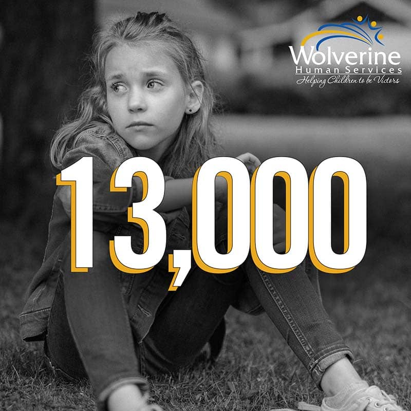 young girl looking sad with number 13,000 on top